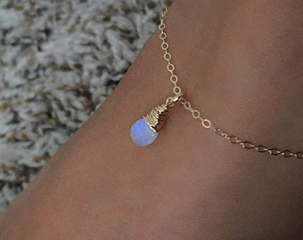 Rainbow Moonstone Anklet, Moonstone Jewelry, Gold ankle bracelet, Boho Anklet For Women, Mom Gift, Wedding Anklet Wedding Jewelry Bridesmaid