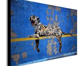 Banksy Bronx Zoo Leopard Blue Yellow Canvas Modern Home Art ~ 5 Size to Choose