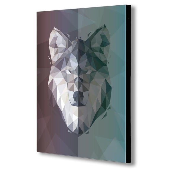 WOLF GEOMETRIC ABSTRACT MODERN Canvas Wall Art Framed Print Various sizes