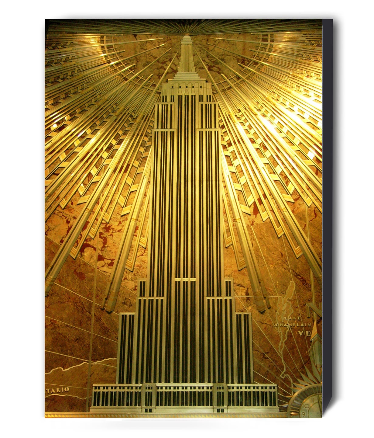 Gold Empire State Building Art Deco Canvas Wall Art Print | Etsy