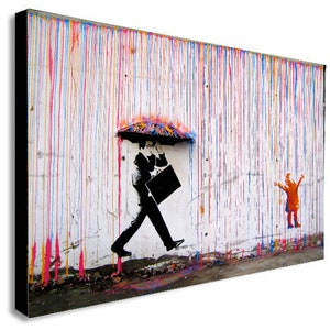 BANKSY Pillow Fight riot hippies canvas wall art Wood Framed Ready to Hang XXXL
