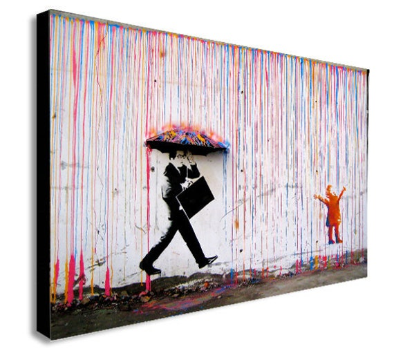 A1 print painting  BANKSY Poster wall decor canvas street boy rainbow rain