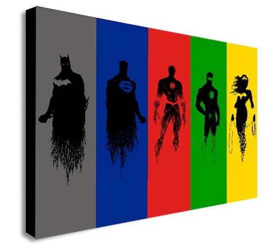DC Comics Justice League Super Hero Collage Canvas Wall Art | Etsy