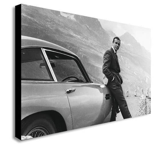 James Bond Sean Connery Aston Martin Canvas Wall Art Framed Etsy