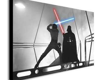 Star Wars - Darth Vader - Luke Skywalker Fight - Canvas Wall Art Framed Print. Various Sizes