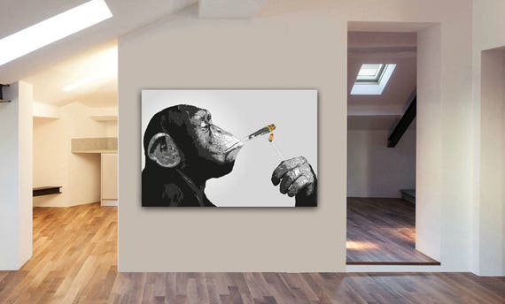 Monkey Chimp Smoking Spliff Canvas