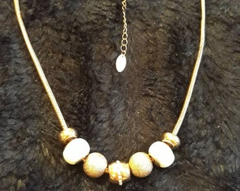 Gold Tone Metal Ceramic And Metal Beaded Necklace By Next