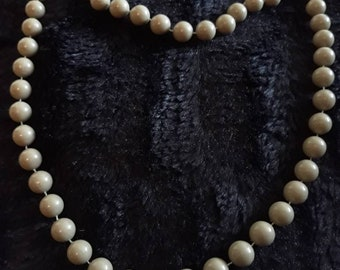 Vintage Grey Ceramic Beaded Necklace