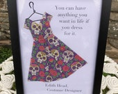 Origami dress framed with fashion quotation