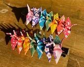 Tiny origami paper crane hair clips