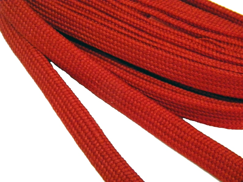 2 Pair Hockey Skate Laces extremeMAX flat 10mm wide tube style Red