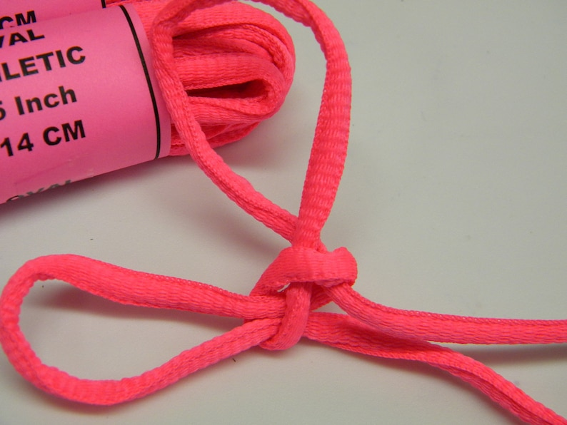 Neon Pink 12 Pair Pack Oval style Athletic sneaker shoelaces