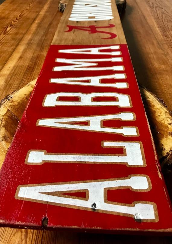 Alabama Crimson Tide Pallet Sign For Home Decor Bama Wall Art Etsy
