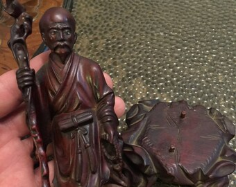 Antique Chinese Carved Hardwood Luohan Figurine