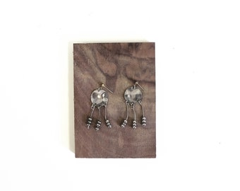 Vintage Silver forged dangle earrings