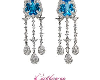 Blue Topaz and Diamond Dangling Earrings