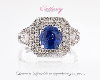 Absolutely Gorgeous 14k White gold Sapphire and Diamond Ring
