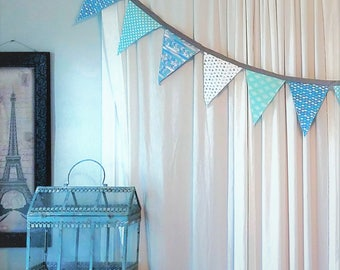 Shades of Blue Pennant Fabric Banner and Bunting
