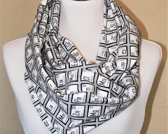 Periodic Table Infinity Scarf - BW