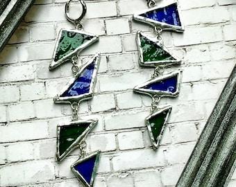 Green and Blue Earrings, Tricolor Earrings, Multicolor Earrings, Long Dangling Earrings, Sparkle Earrings, Fancy Earrings