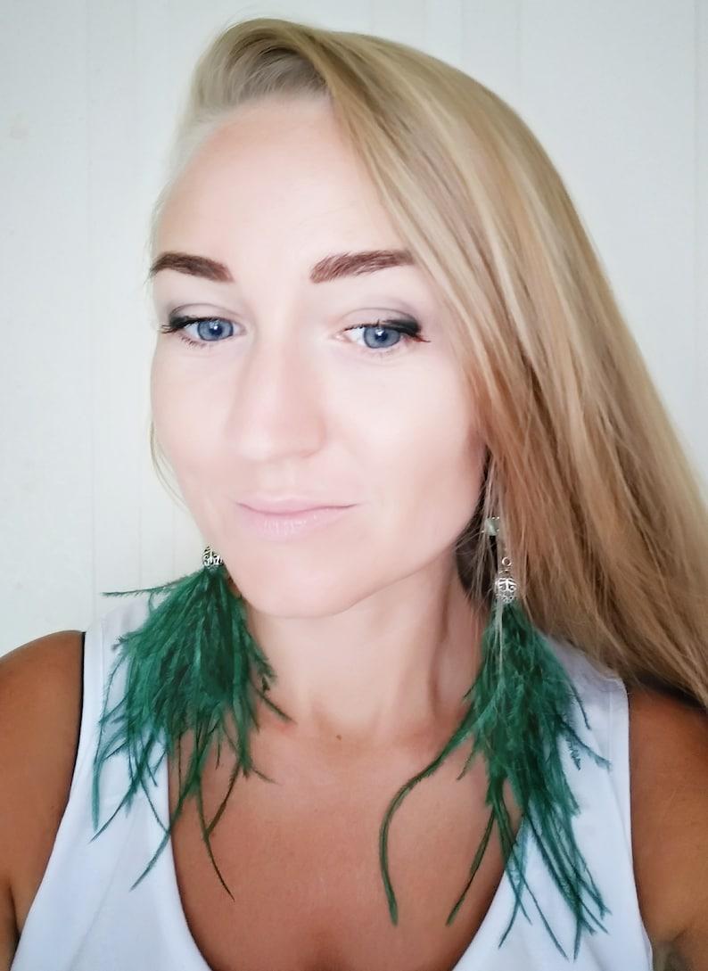 Summer Earrings Fluffy Earrings Long Tassel Earrings Green Ostrich Feather Earrings Fringe Statement Earrings
