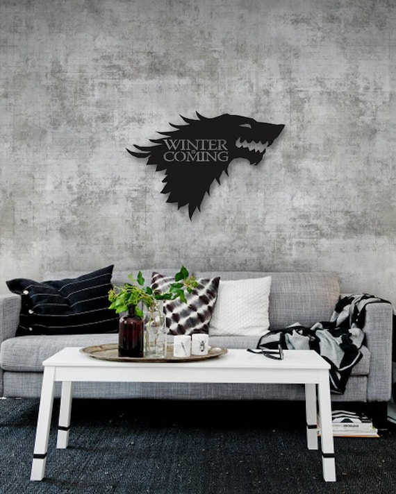 Game Of Thrones Wolf Metal Wall Symbol Of The North Metal Etsy