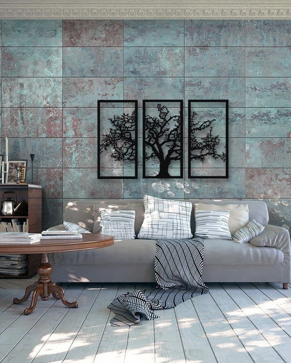 Tree Of Life 3 Pieces Metal Wall Art Modern Rustic Wall Decor Living Room Home Decor Special Design New Home Gift Black Metal Wall Art