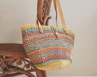 Sisal bag Sisal African Bag Sisal Tote Woven Sisal Basket Bag Straw Sisal Market bag Woven Bag Boho Decor African Basket woven market bag