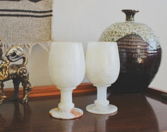 vintage marble goblets onyx goblets mid century modern boho decor goblets wedding goblets glasses stemmed goblets boho bar cart decor