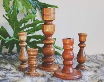 vintage wood candle holder set boho wood candlesticks mid century wood candle sticks candlestick collection centerpieces for dining table