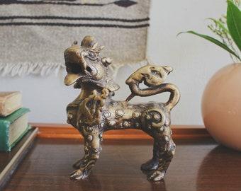 brass foo dog figurine vintage brass figurine Chinese fu dog statue boho decor mid century modern decor Chinese guardian lion shishi lion