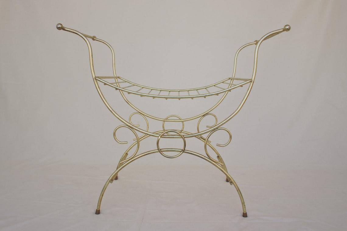 vintage Hollywood regency vanity bench art deco vanity stool mid century modern gold bench 1960s brass vanity chair modern bohemian
