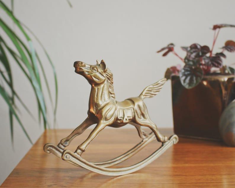 Messing Schaukelpferd Figur Pferd Dekor Messing Tier Kinder Etsy