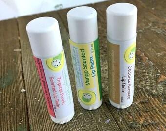 Set of 3 lip Balms, 3 lip balms, organic Lip balm, Chapstick, 3 Pack Lip Balms, Lip Balm Favors, Coconut Lip balm, Mango Lip Balm
