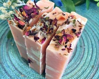 Wild Rose Handmade Soap, Rose Soap, Rose Soap Bar,Coconut Milk Soap, Handmade Soap, Floral Soap, Women's Gift, Gift for her, Bar Soap, soap