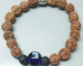 Rudraksha bracelet with lava bead evil eye and buddha head for yoga and essential oil diffuser
