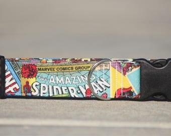 Marvel Comic- Dog collar, pet collar, custom collar, pet supplies, unique, super heros, marvel, hulk, spiderman, thor, iron man, captain