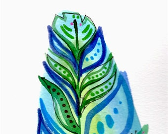 2 Blue and Green Feathers