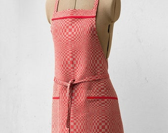 Kitchen Apron | Aprons For Women | Cooking Apron | Linen Apron | Apron | Red Apron | Checked Apron | Full Apron | BBQ Apron | With Pockets