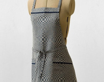 Kitchen Apron | Aprons For Women | Cooking Apron | Linen Apron | Apron | Blue Apron | Checked Apron | Full Apron | BBQ Apron | With Pockets