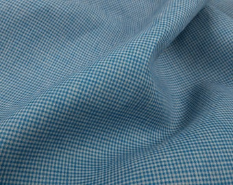 Linen | Fabric | Linen Fabric By The Yard | Linen Cloth | Linen Fabric | Textile Fabric | Woven Fabric | Natural Fabric | Small Blue Check