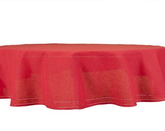 Tablecloth For Round U0026 Oval Tables | 70 Inch Round Tablecloth | Linen  Tablecloth | Red Tablecloth | Linen Blend Material | Tablecloth Online