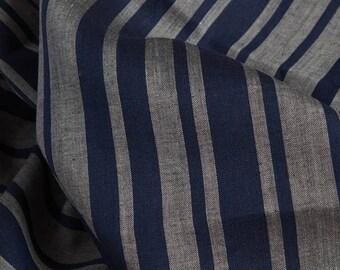 Linen Fabric | Linen Material | Woven Fabric | Natural Fabrics | Linen | Blue & Grey | Linen Fabric For Clothing | Linen Fabric By The Yard