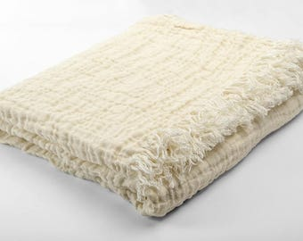 White Linen Blanket Throw | Natural Flax Material | Softened | Linen Bed Cover | Blanket Full Queen Sizes | Woven Textile | Plaid For Home