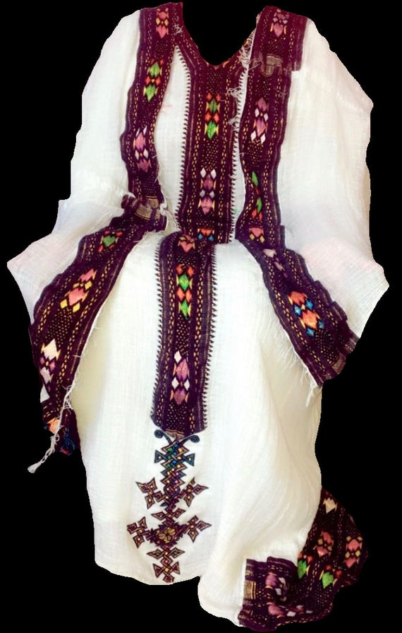 Ethiopian Dress  Traditional Habesha Kemis, Women's Clothes  Cotton,  Embroidered