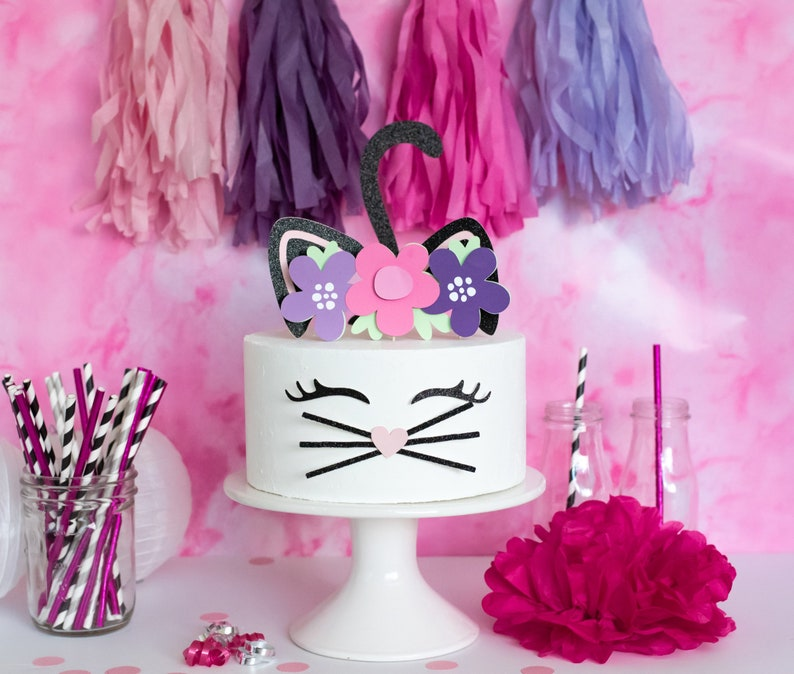 Kitty Cat Cake Topper Party Flower