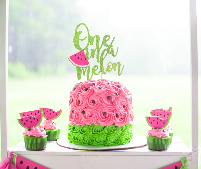 One in a Melon First Birthday  One in a Melon Cake Topper  image 0