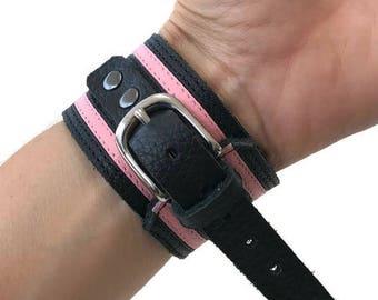 Leathergirl bracelet pride cuff bracelet leather fetish bdsm.