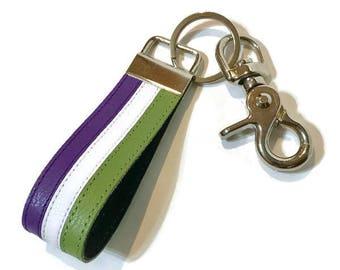Genderqueer pride leather keychain, genderqueer leather key chain, lgbtq keychain, lgbt key chain, lgbtq.