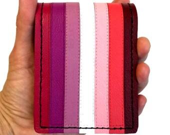 Lipstick lesbian pride leather bi-fold wallet femme